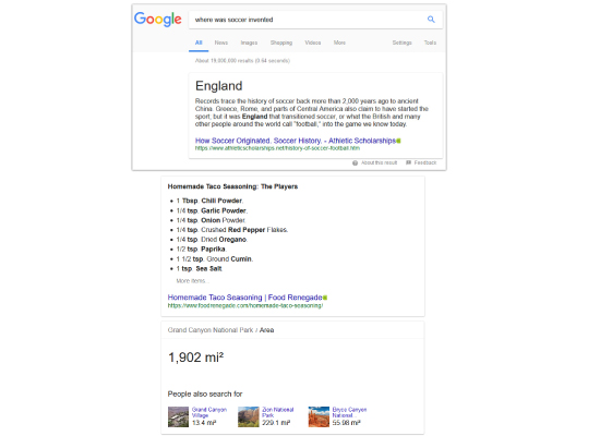 3 Types of Featured Snippets