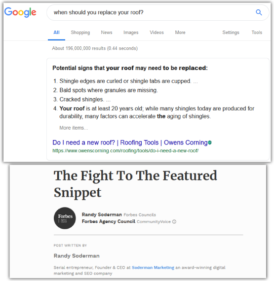 Roofing Featured Snippet